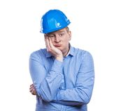 Engineer in blue helmet Stock Photos