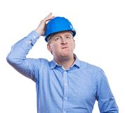 Engineer in blue helmet Stock Photo