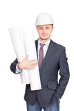 Engineer with blueprints Stock Images