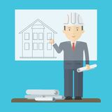 Engineer board presentation. Engineer presentation on a flipchart plan for the construction of a residential building. Flat vector cartoon illustration. Objects Stock Photography