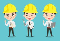 Engineer boy in many action. royalty free illustration