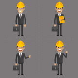 Engineer with briefcase in different poses Royalty Free Stock Photography