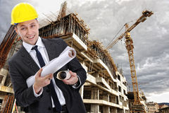 Engineer builder with  blueprint Royalty Free Stock Photos