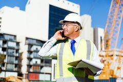 Engineer builder at construction site Royalty Free Stock Photography