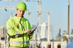 Engineer builder at construction site Royalty Free Stock Photos