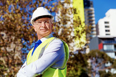 Engineer builder at construction site Stock Images