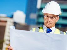 Engineer builder at construction site Stock Photo