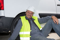 Engineer builder male relaxing at construction site Royalty Free Stock Images