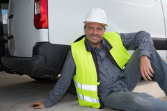 Engineer builder relaxing at a construction site Stock Photo