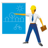 Engineer builder show blueprint with ecological project stock illustration