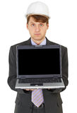 Engineer - builder shows a computer screen Stock Image