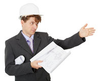Engineer - builder shows direction Royalty Free Stock Photo