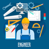 Engineer or builder worker with work tools poster Royalty Free Stock Photography