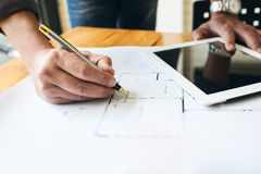 Engineer business man hardworking to drawing architect blueprint Royalty Free Stock Photography