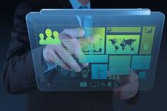 Engineer businessman hand working on modern technology Stock Image