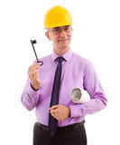 Engineer businessman and key Royalty Free Stock Image