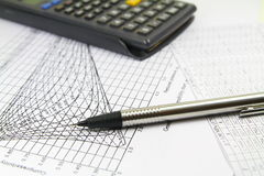 Engineer Calculations Graphics. Photo representing spread sheets and numbers used by engineer during projects Royalty Free Stock Photography