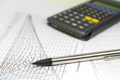 Engineer Calculations Graphics. Photo representing spread sheets and numbers used by engineer during projects Stock Photos
