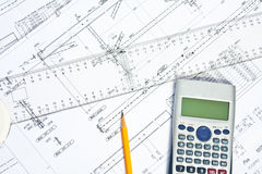 Engineer Calculations and Plans stock photo