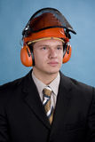 Engineer in cap Stock Image