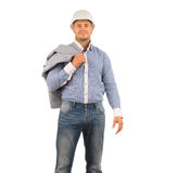 Engineer Carrying Coat on Shoulder Looking Camera Stock Image