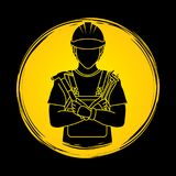 Engineer cartoon , Labor day sign graphic vector. Royalty Free Stock Images