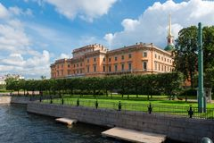 Engineer castle. Mikhailovsky Castle or Engineer castle in the city of St. Petersburg on the river bank. Russia Stock Photography