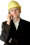 Engineer with cellphone stock image