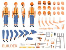 Engineer character animation. Body parts and specific tools of builder constructor with head body arms hands vector. Builder animation construction, creation royalty free illustration
