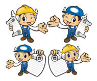 Engineer Character OK gestured is holding a order sheet. Royalty Free Stock Photography