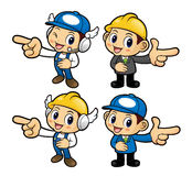 Engineer Character is points a finger one direction. Royalty Free Stock Photo