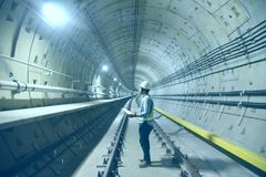 Free Engineer Check Concrete Structure In The Tunnel Underground Construction.the  Background Concept For  Train Railway Engineering Tr Stock Photos - 155990383