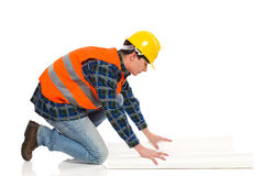 Engineer checking plan. Stock Photography