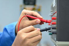 Engineer Checking Voltage Royalty Free Stock Photos