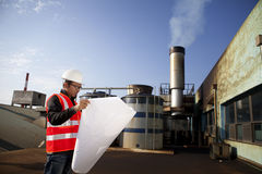 Engineer cheking plant Stock Images