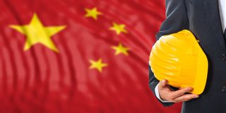 Engineer on a China flag background. 3d illustration. Engineer on a waiving China flag background. 3d illustration Stock Image