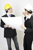 Engineer and client on site Royalty Free Stock Photos