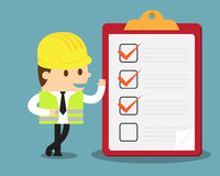 Engineer with clipboard. And checklist Stock Illustration