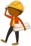 Engineer. Closeup male engineer holding documents vector illustration