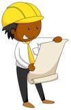 Engineer. Closeup male engineer reading blueprint vector illustration