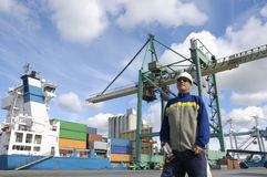 Engineer in a commercial port Stock Photography