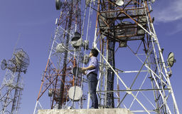 Engineer communications check Antenna royalty free stock photos
