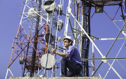 Engineer communications check Antenna stock image