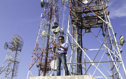 Engineer communications check Antenna royalty free stock image