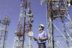 Engineer communications check Antenna Stock Photography