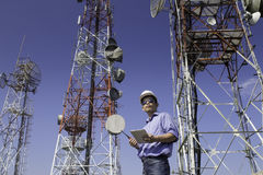 Engineer communications check Antenna Royalty Free Stock Photo