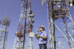 Engineer communications check Antenna Royalty Free Stock Images