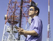 Engineer communications check Antenna Royalty Free Stock Photography