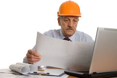 Engineer at the computer Stock Photos
