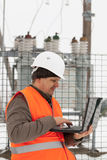 Engineer with computer Stock Image